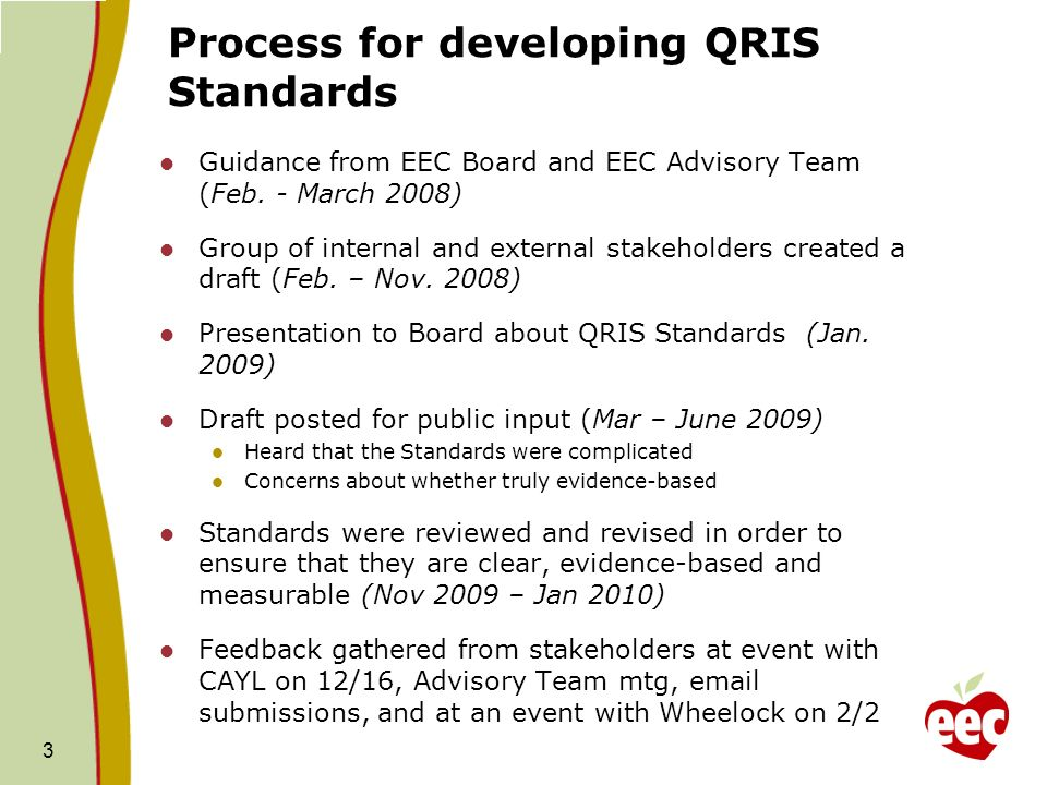 Process for developing QRIS Standards Guidance from EEC Board and EEC Advisory Team (Feb. - March 2008) Group of internal and external stakeholders cr
