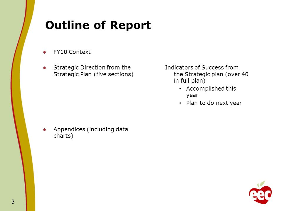Outline of Report FY10 Context Strategic Direction from the Strategic Plan (five sections) Appendices (including data charts) Indicators of Success from the Strategic plan (over 40 in full plan) Accomplished this year Plan to do next year 3