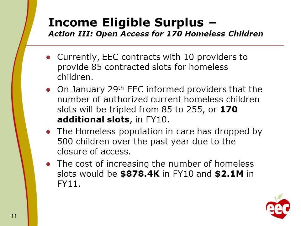 Income Eligible Surplus – Action III: Open Access for 170 Homeless Children Currently, EEC contracts with 10 providers to provide 85 contracted slots for homeless children.
