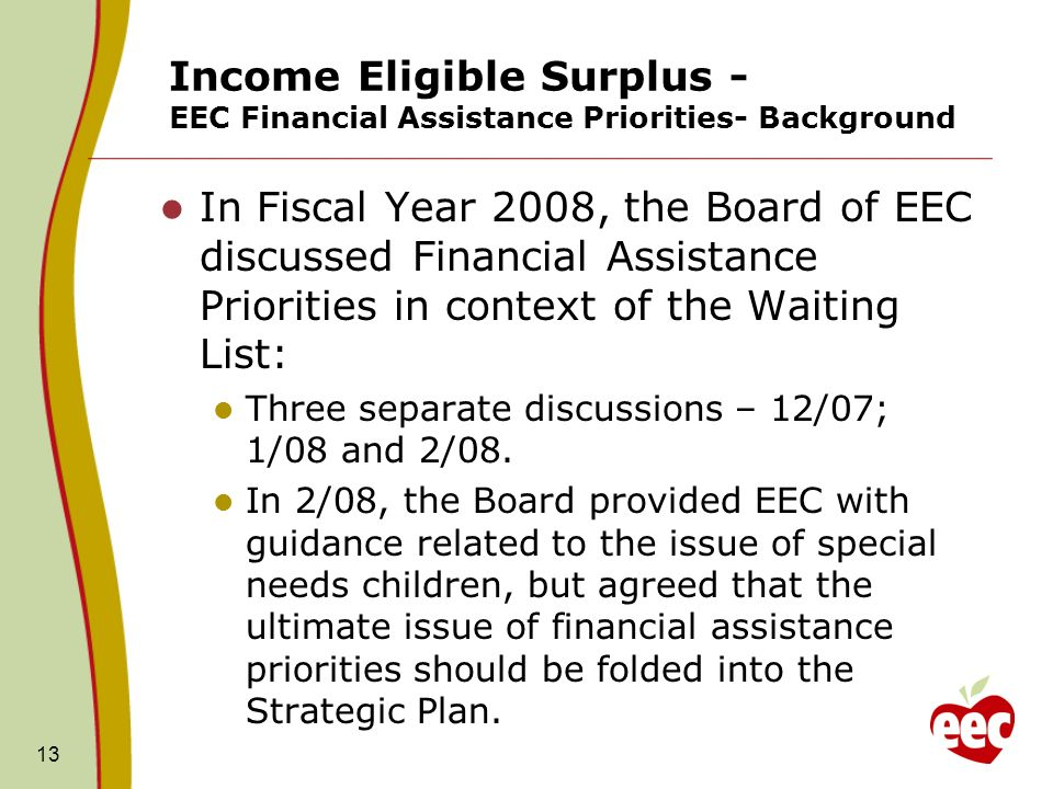 13 Income Eligible Surplus - EEC Financial Assistance Priorities- Background In Fiscal Year 2008, the Board of EEC discussed Financial Assistance Prio