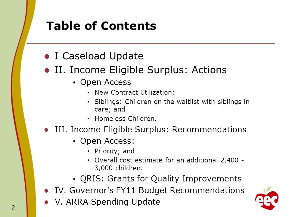 13 Income Eligible Surplus - EEC Financial Assistance Priorities- Background In Fiscal Year 2008, the Board of EEC discussed Financial Assistance Priorities in context of the Waiting List: Three separate discussions – 12/07; 1/08 and 2/08.