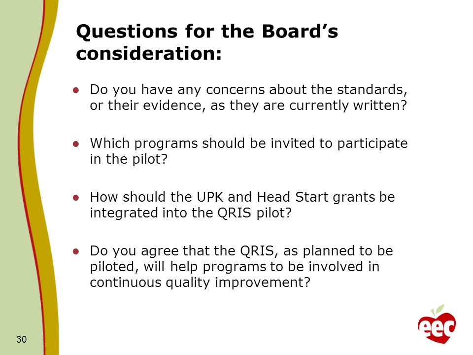 Questions for the Boards consideration: Do you have any concerns about the standards, or their evidence, as they are currently written.