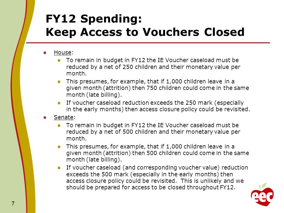 FY12 Spending: Keep Access to Vouchers Closed House: To remain in budget in FY12 the IE Voucher caseload must be reduced by a net of 250 children and their monetary value per month.