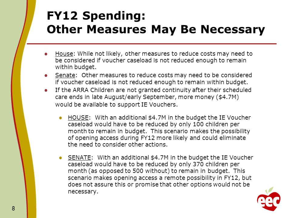 FY12 Spending: Other Measures May Be Necessary House: While not likely, other measures to reduce costs may need to be considered if voucher caseload is not reduced enough to remain within budget.