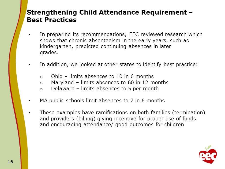 16 Strengthening Child Attendance Requirement – Best Practices In preparing its recommendations, EEC reviewed research which shows that chronic absenteeism in the early years, such as kindergarten, predicted continuing absences in later grades.