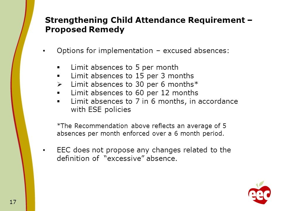 17 Strengthening Child Attendance Requirement – Proposed Remedy Options for implementation – excused absences: Limit absences to 5 per month Limit absences to 15 per 3 months Limit absences to 30 per 6 months* Limit absences to 60 per 12 months Limit absences to 7 in 6 months, in accordance with ESE policies *The Recommendation above reflects an average of 5 absences per month enforced over a 6 month period.