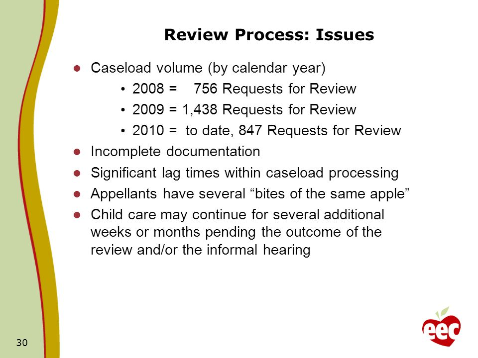 30 Review Process: Issues Caseload volume (by calendar year) 2008 = 756 Requests for Review 2009 = 1,438 Requests for Review 2010 = to date, 847 Reque