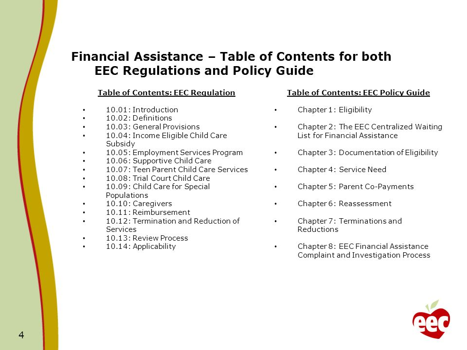 4 Financial Assistance – Table of Contents for both EEC Regulations and Policy Guide Table of Contents: EEC Regulation 10.01: Introduction 10.02: Definitions 10.03: General Provisions 10.04: Income Eligible Child Care Subsidy 10.05: Employment Services Program 10.06: Supportive Child Care 10.07: Teen Parent Child Care Services 10.08: Trial Court Child Care 10.09: Child Care for Special Populations 10.10: Caregivers 10.11: Reimbursement 10.12: Termination and Reduction of Services 10.13: Review Process 10.14: Applicability Table of Contents: EEC Policy Guide Chapter 1: Eligibility Chapter 2: The EEC Centralized Waiting List for Financial Assistance Chapter 3: Documentation of Eligibility Chapter 4: Service Need Chapter 5: Parent Co-Payments Chapter 6: Reassessment Chapter 7: Terminations and Reductions Chapter 8: EEC Financial Assistance Complaint and Investigation Process