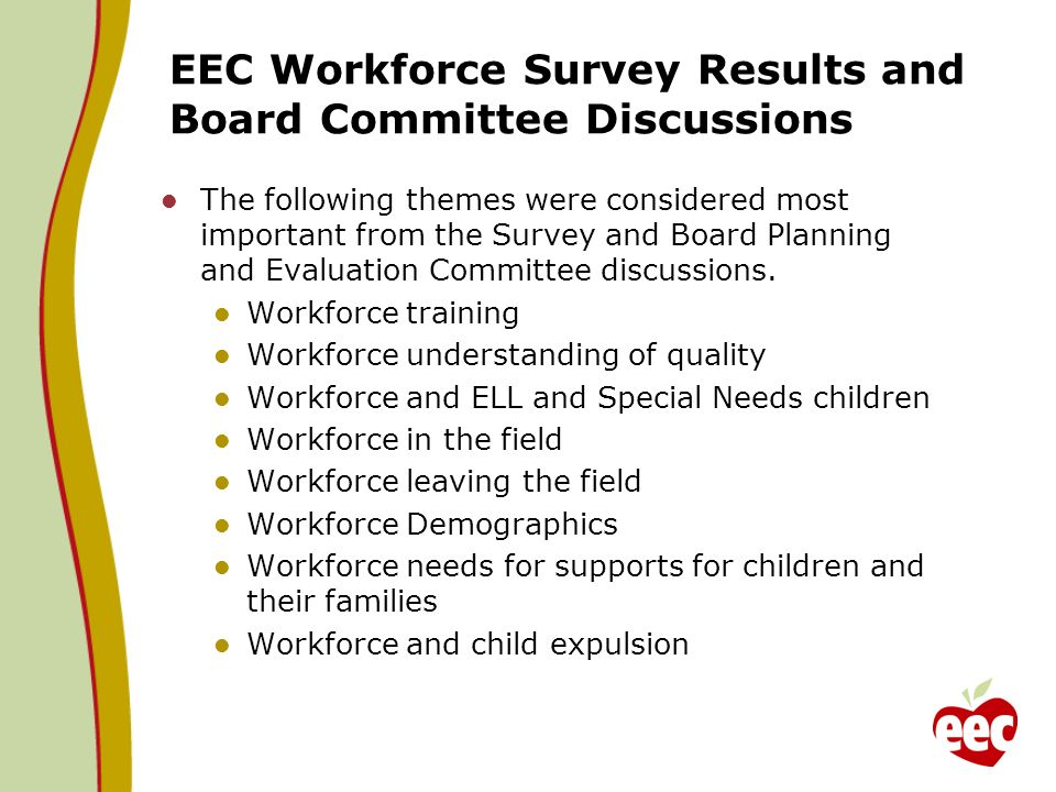 EEC Workforce Survey Results and Board Committee Discussions The following themes were considered most important from the Survey and Board Planning and Evaluation Committee discussions.