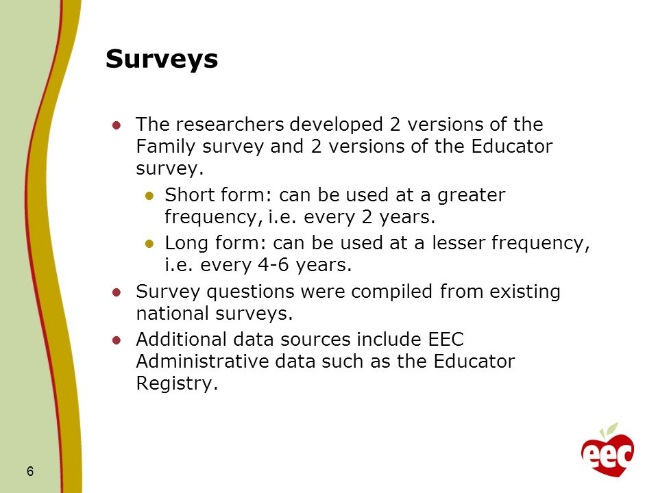 Surveys The researchers developed 2 versions of the Family survey and 2 versions of the Educator survey.