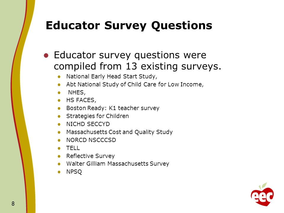 Educator Survey Questions Educator survey questions were compiled from 13 existing surveys.