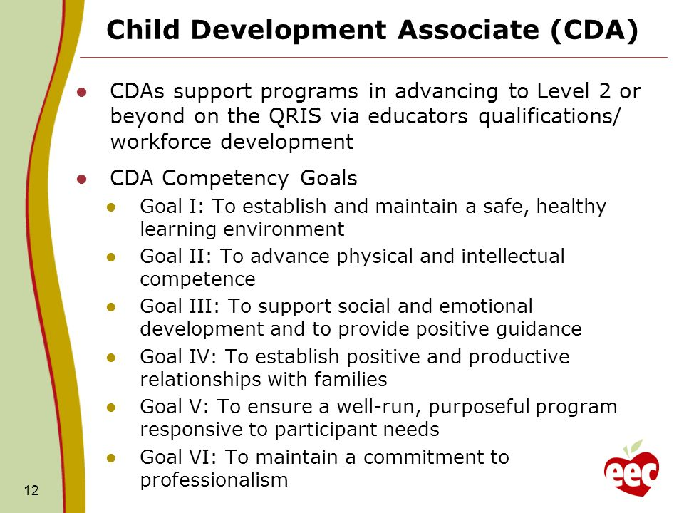 12 Child Development Associate (CDA) CDAs support programs in advancing to Level 2 or beyond on the QRIS via educators qualifications/ workforce devel