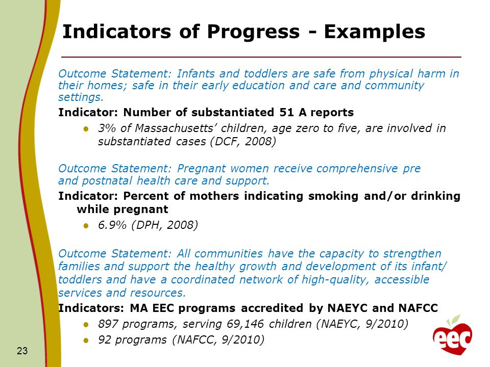 23 Indicators of Progress - Examples Outcome Statement: Infants and toddlers are safe from physical harm in their homes; safe in their early education and care and community settings.
