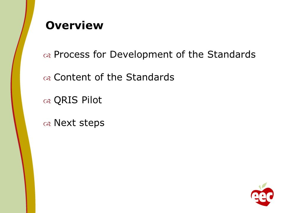 Overview Process for Development of the Standards Content of the Standards QRIS Pilot Next steps