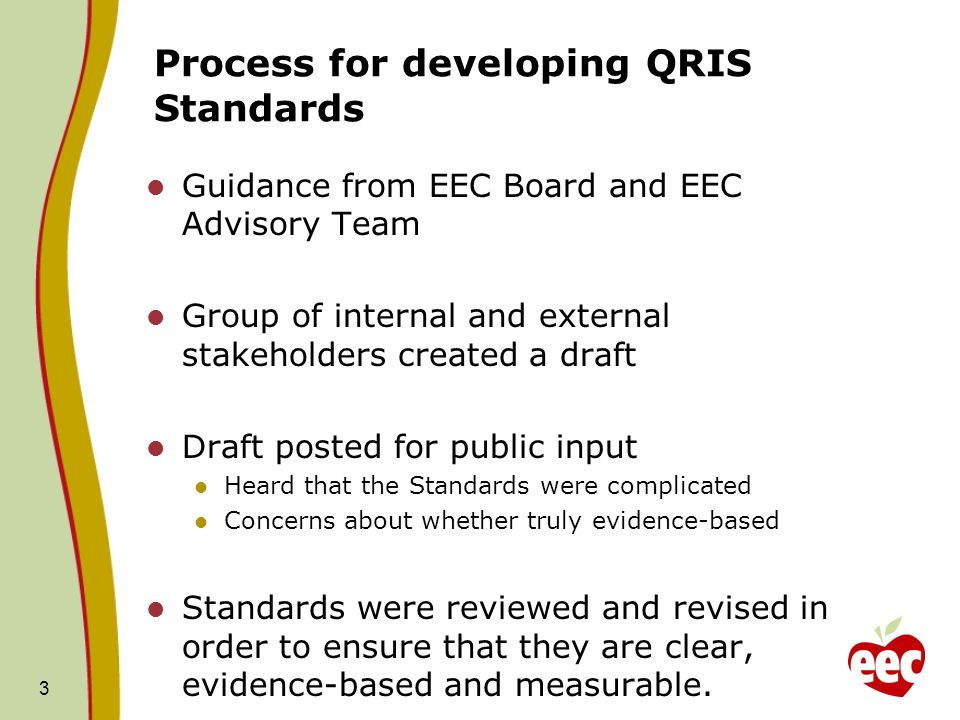 Process for developing QRIS Standards Guidance from EEC Board and EEC Advisory Team Group of internal and external stakeholders created a draft Draft posted for public input Heard that the Standards were complicated Concerns about whether truly evidence-based Standards were reviewed and revised in order to ensure that they are clear, evidence-based and measurable.