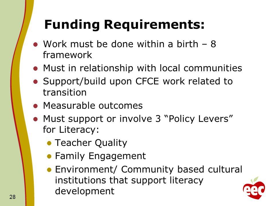 Funding Requirements: Work must be done within a birth – 8 framework Must in relationship with local communities Support/build upon CFCE work related