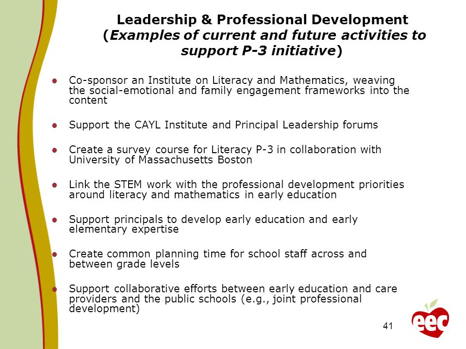 41 Leadership & Professional Development (Examples of current and future activities to support P-3 initiative) Co-sponsor an Institute on Literacy and