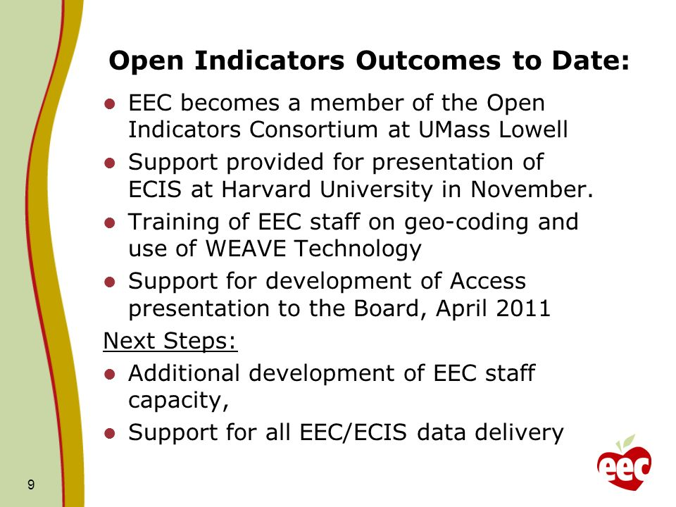 Open Indicators Outcomes to Date: EEC becomes a member of the Open Indicators Consortium at UMass Lowell Support provided for presentation of ECIS at