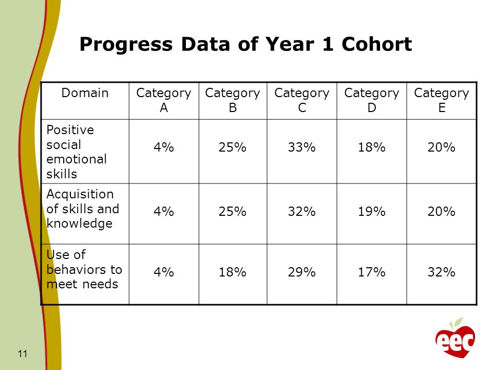 11 Progress Data of Year 1 Cohort DomainCategory A Category B Category C Category D Category E Positive social emotional skills 4%25%33%18%20% Acquisi