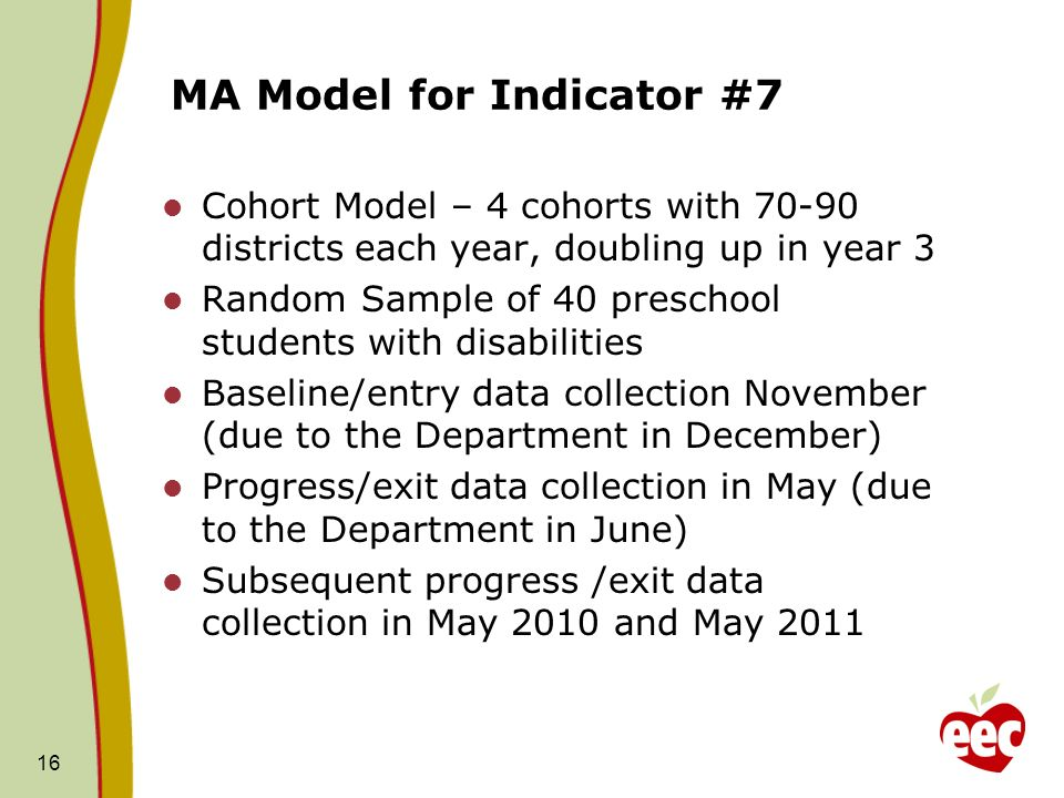 16 MA Model for Indicator #7 Cohort Model – 4 cohorts with 70-90 districts each year, doubling up in year 3 Random Sample of 40 preschool students wit