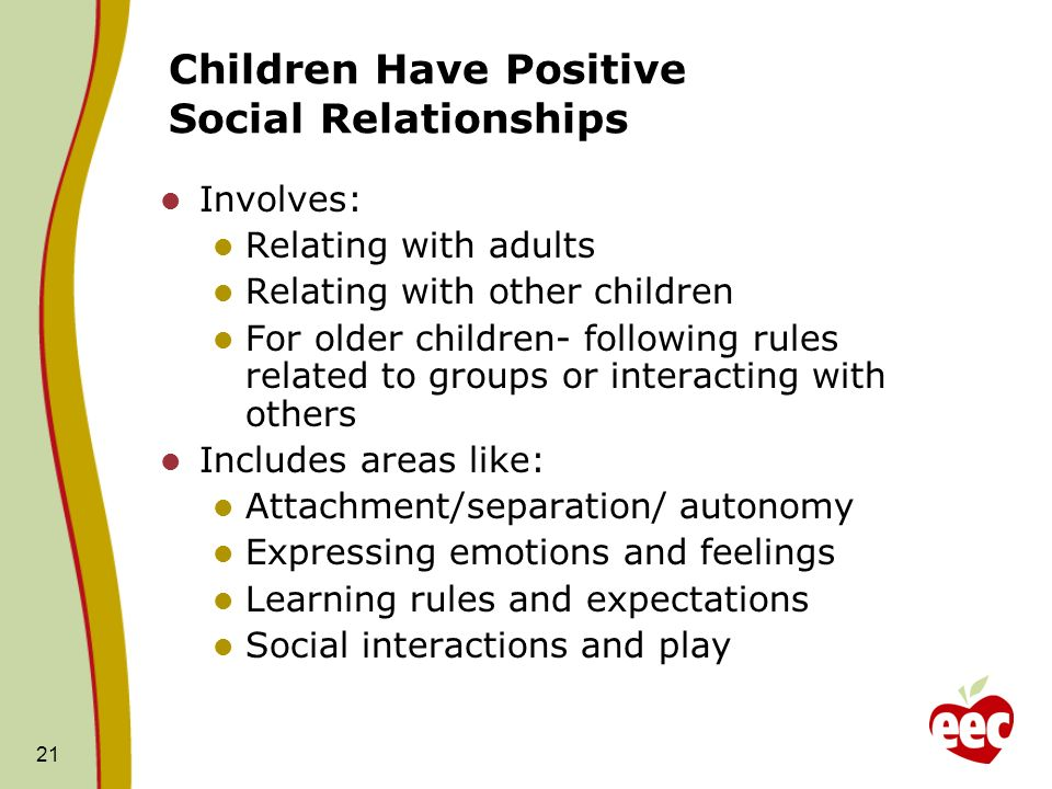 21 Children Have Positive Social Relationships Involves: Relating with adults Relating with other children For older children- following rules related