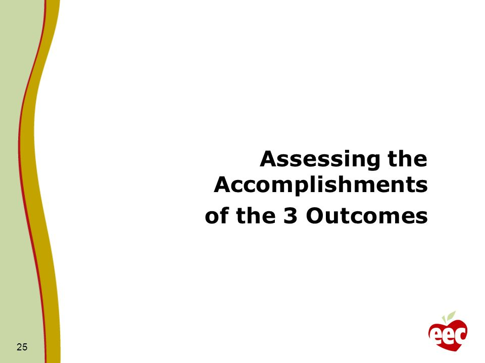 25 Assessing the Accomplishments of the 3 Outcomes