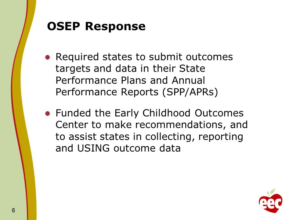 6 OSEP Response Required states to submit outcomes targets and data in their State Performance Plans and Annual Performance Reports (SPP/APRs) Funded