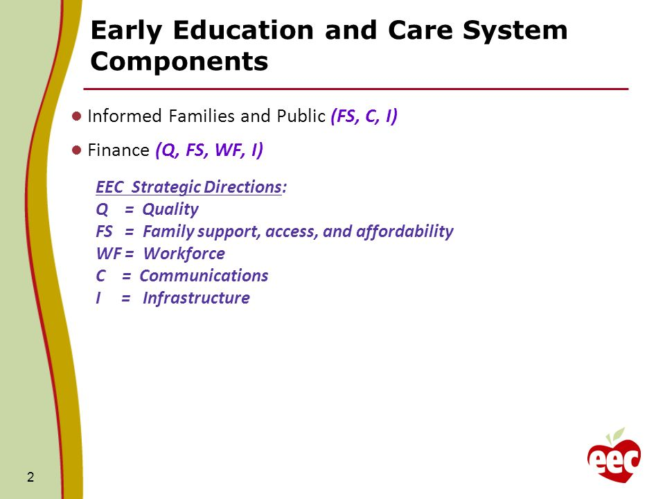 Early Education and Care System Components Informed Families and Public (FS, C, I) Finance (Q, FS, WF, I) EEC Strategic Directions: Q = Quality FS = Family support, access, and affordability WF = Workforce C = Communications I = Infrastructure 2