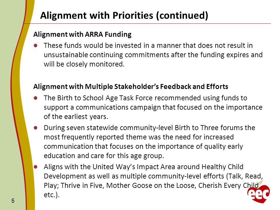 5 Alignment with ARRA Funding These funds would be invested in a manner that does not result in unsustainable continuing commitments after the funding expires and will be closely monitored.