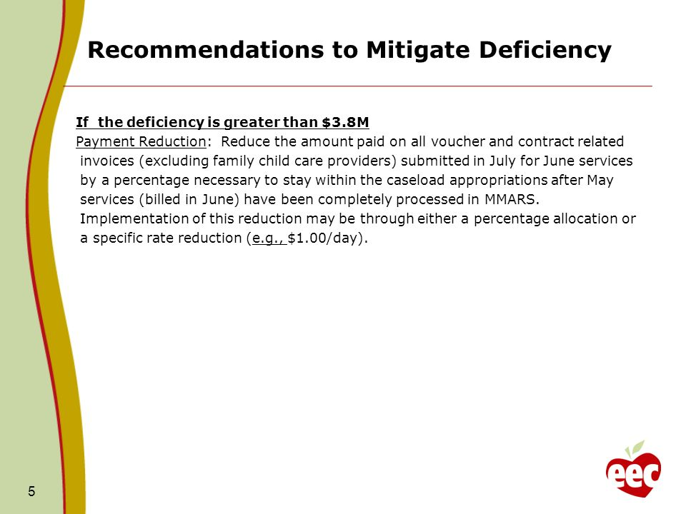Recommendations to Mitigate Deficiency 5 If the deficiency is greater than $3.8M Payment Reduction: Reduce the amount paid on all voucher and contract related invoices (excluding family child care providers) submitted in July for June services by a percentage necessary to stay within the caseload appropriations after May services (billed in June) have been completely processed in MMARS.