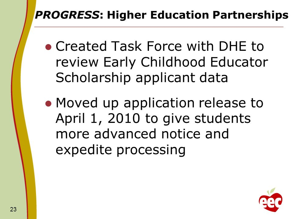 PROGRESS: Higher Education Partnerships Created Task Force with DHE to review Early Childhood Educator Scholarship applicant data Moved up application release to April 1, 2010 to give students more advanced notice and expedite processing 23