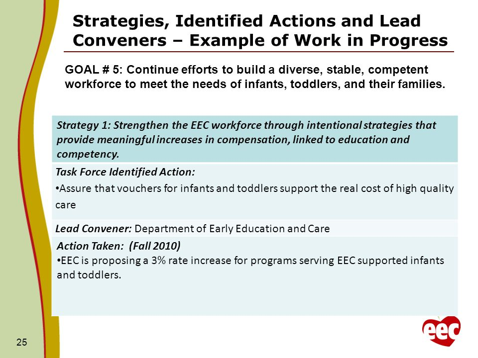 25 Strategies, Identified Actions and Lead Conveners – Example of Work in Progress GOAL # 5: Continue efforts to build a diverse, stable, competent workforce to meet the needs of infants, toddlers, and their families.