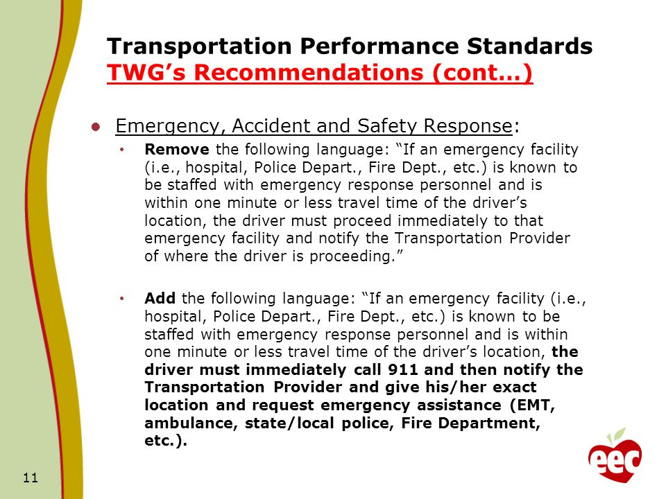 Transportation Performance Standards TWGs Recommendations (cont…) Emergency, Accident and Safety Response: Remove the following language: If an emergency facility (i.e., hospital, Police Depart., Fire Dept., etc.) is known to be staffed with emergency response personnel and is within one minute or less travel time of the drivers location, the driver must proceed immediately to that emergency facility and notify the Transportation Provider of where the driver is proceeding.