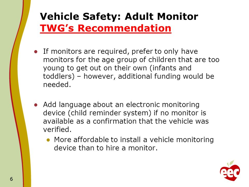 Vehicle Safety: Adult Monitor TWGs Recommendation If monitors are required, prefer to only have monitors for the age group of children that are too young to get out on their own (infants and toddlers) – however, additional funding would be needed.