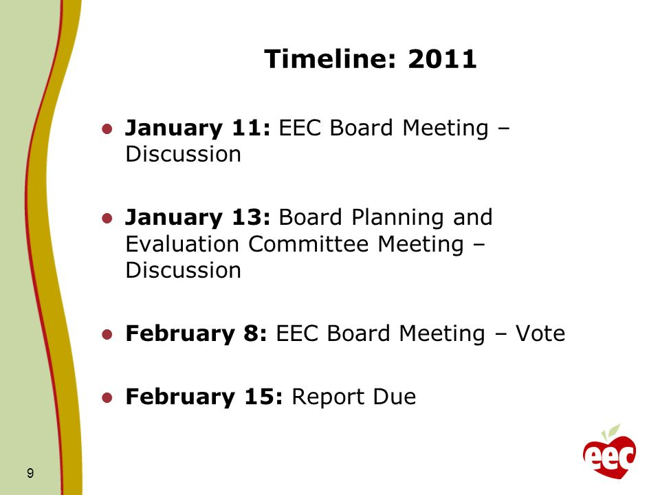 Timeline: 2011 January 11: EEC Board Meeting – Discussion January 13: Board Planning and Evaluation Committee Meeting – Discussion February 8: EEC Board Meeting – Vote February 15: Report Due 9
