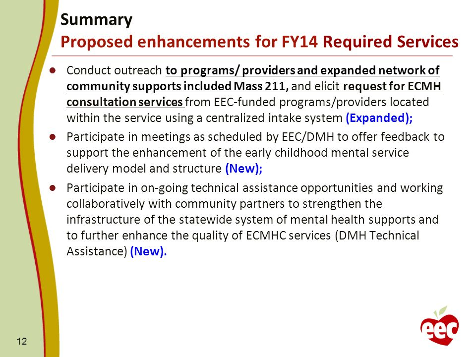 Conduct outreach to programs/ providers and expanded network of community supports included Mass 211, and elicit request for ECMH consultation services from EEC-funded programs/providers located within the service using a centralized intake system (Expanded); Participate in meetings as scheduled by EEC/DMH to offer feedback to support the enhancement of the early childhood mental service delivery model and structure (New); Participate in on-going technical assistance opportunities and working collaboratively with community partners to strengthen the infrastructure of the statewide system of mental health supports and to further enhance the quality of ECMHC services (DMH Technical Assistance) (New).