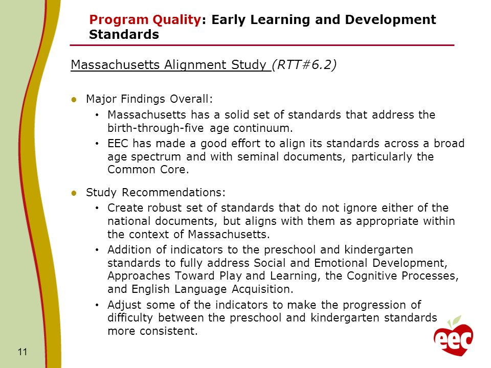 11 Program Quality: Early Learning and Development Standards Massachusetts Alignment Study (RTT#6.2) Major Findings Overall: Massachusetts has a solid