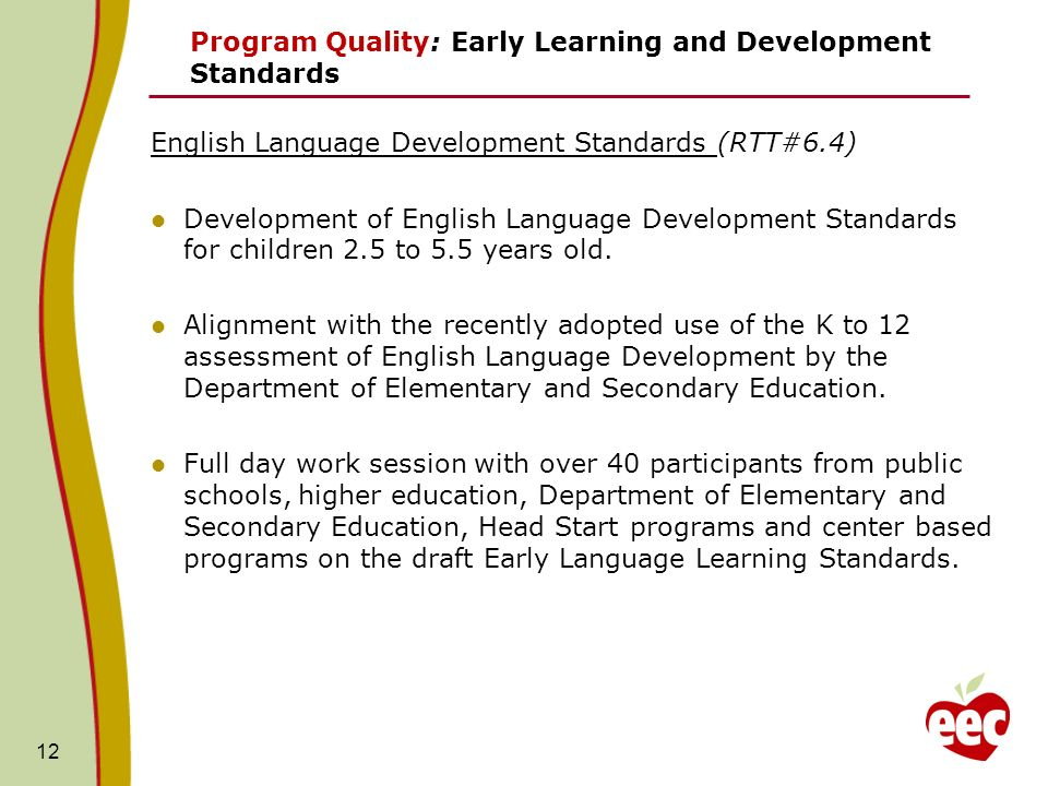 12 Program Quality: Early Learning and Development Standards English Language Development Standards (RTT#6.4) Development of English Language Developm