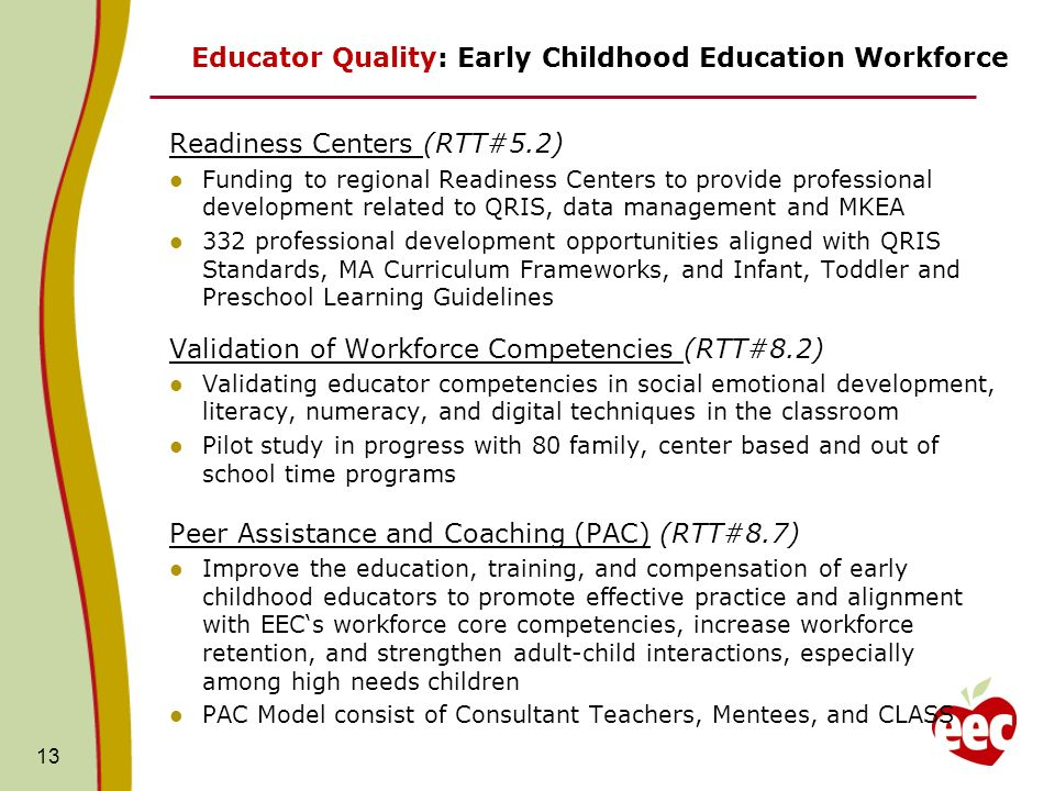 13 Educator Quality: Early Childhood Education Workforce Readiness Centers (RTT#5.2) Funding to regional Readiness Centers to provide professional dev