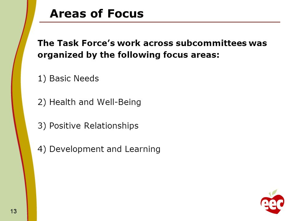 13 Areas of Focus The Task Forces work across subcommittees was organized by the following focus areas: 1) Basic Needs 2) Health and Well-Being 3) Positive Relationships 4) Development and Learning 13