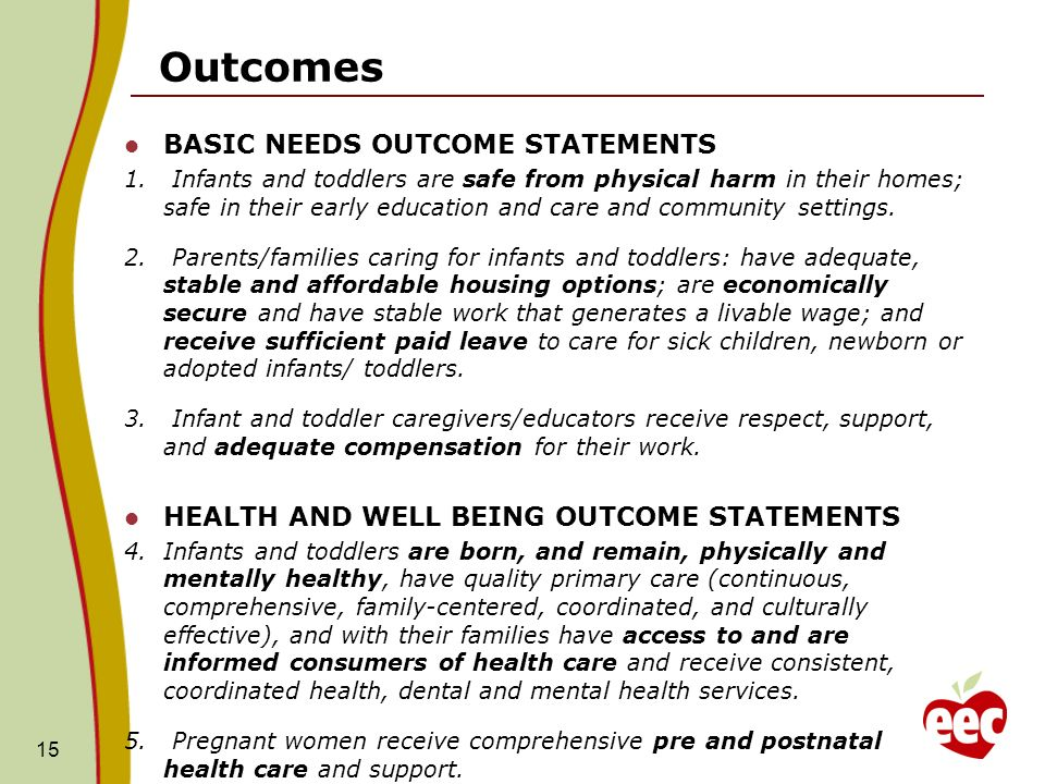 15 Outcomes BASIC NEEDS OUTCOME STATEMENTS 1.