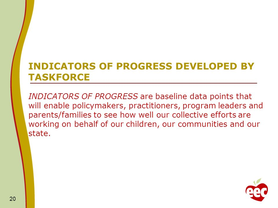 20 INDICATORS OF PROGRESS DEVELOPED BY TASKFORCE INDICATORS OF PROGRESS are baseline data points that will enable policymakers, practitioners, program