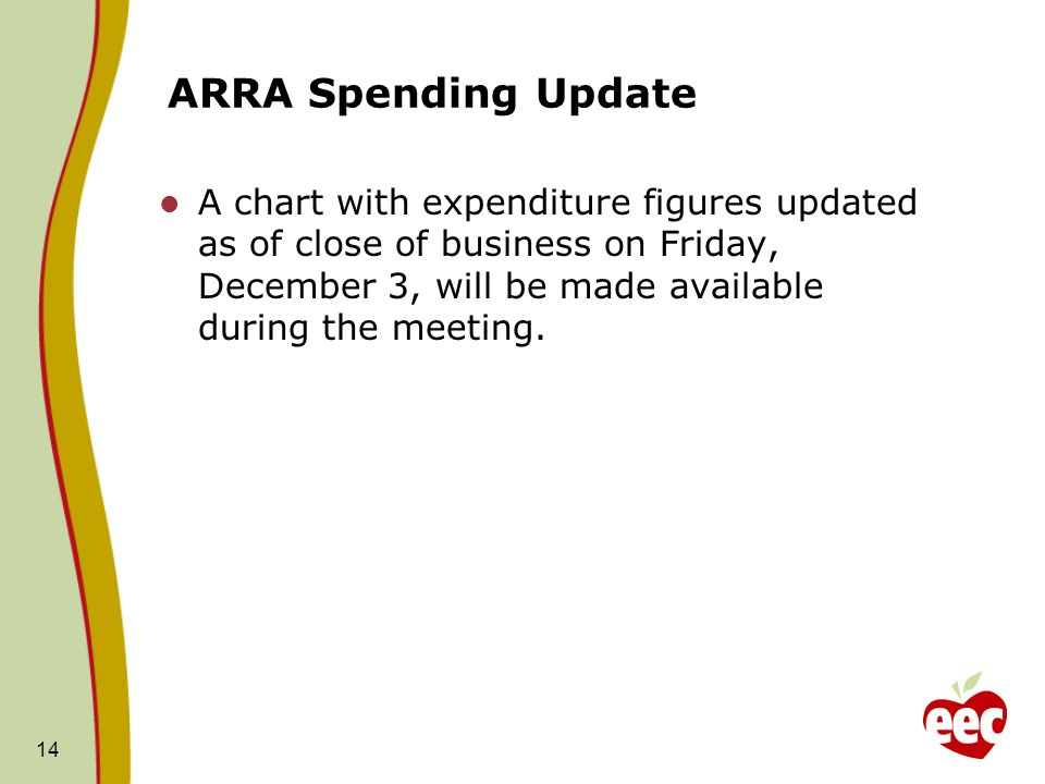 ARRA Spending Update A chart with expenditure figures updated as of close of business on Friday, December 3, will be made available during the meeting