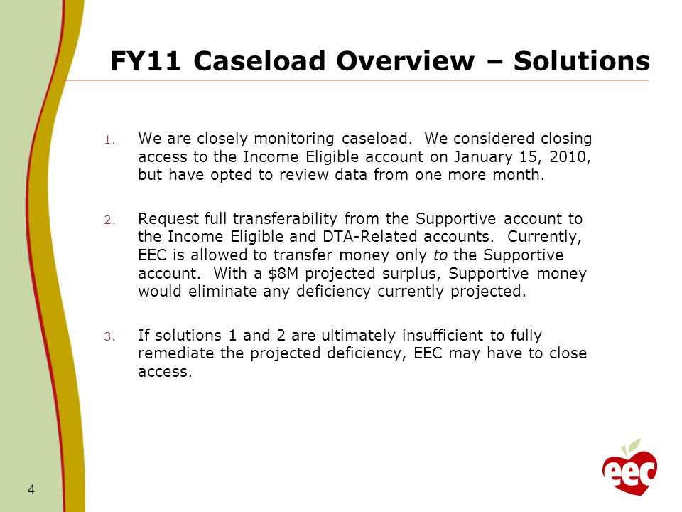 FY11 Caseload Overview – Solutions 1. We are closely monitoring caseload.