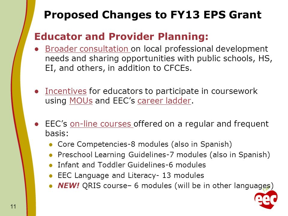 Proposed Changes to FY13 EPS Grant Educator and Provider Planning: Broader consultation on local professional development needs and sharing opportunit