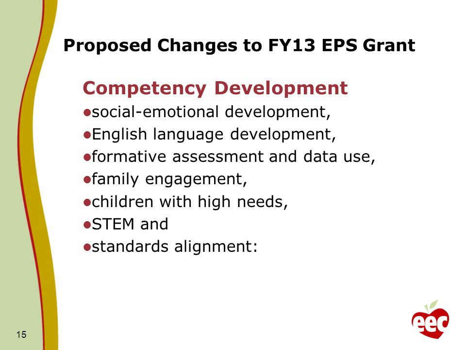 Proposed Changes to FY13 EPS Grant Competency Development social-emotional development, English language development, formative assessment and data us