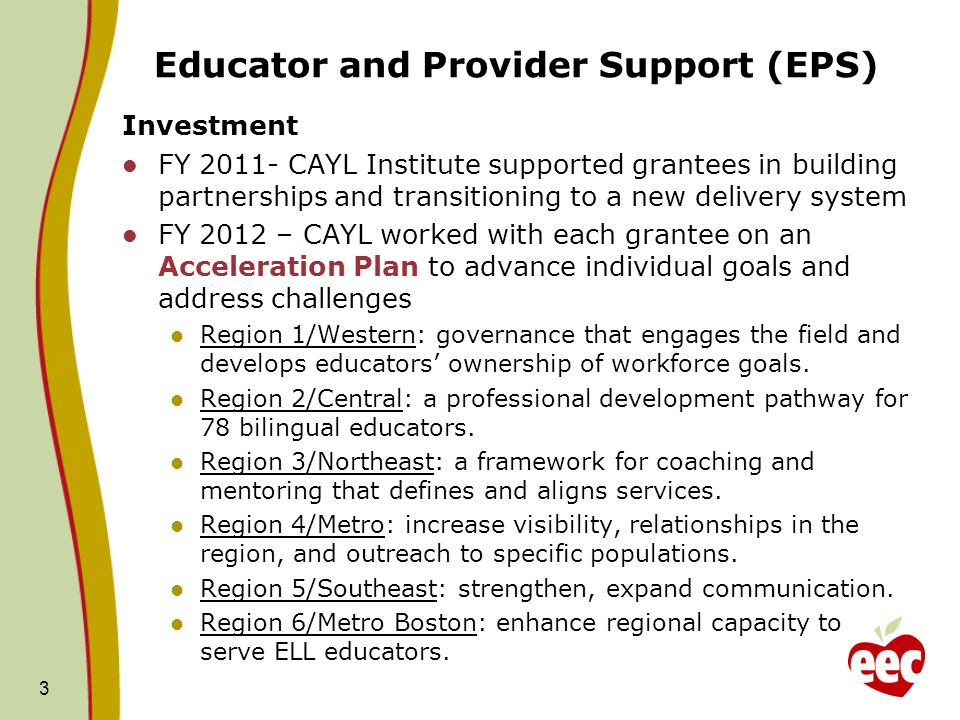 3 Educator and Provider Support (EPS) Investment FY 2011- CAYL Institute supported grantees in building partnerships and transitioning to a new delive