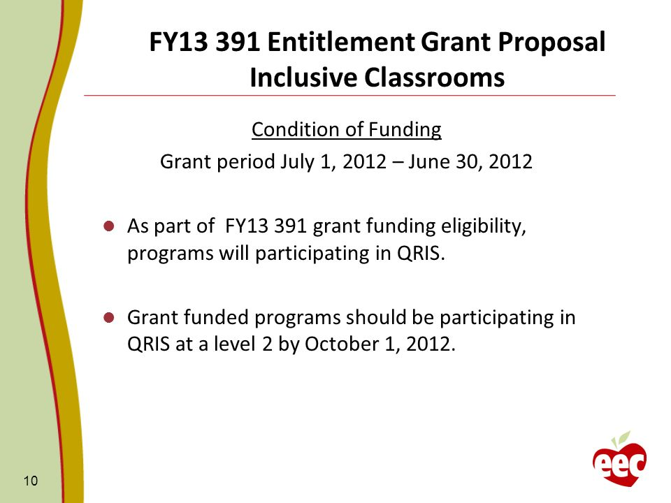 FY13 391 Entitlement Grant Proposal Inclusive Classrooms Condition of Funding Grant period July 1, 2012 – June 30, 2012 As part of FY13 391 grant funding eligibility, programs will participating in QRIS.