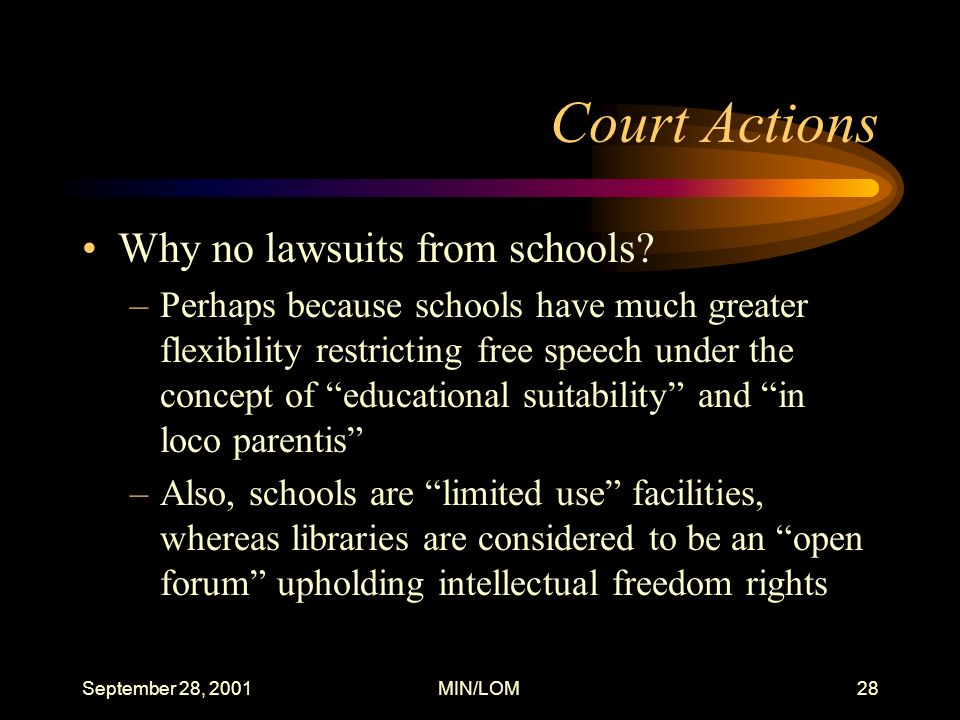 September 28, 2001MIN/LOM28 Court Actions Why no lawsuits from schools.