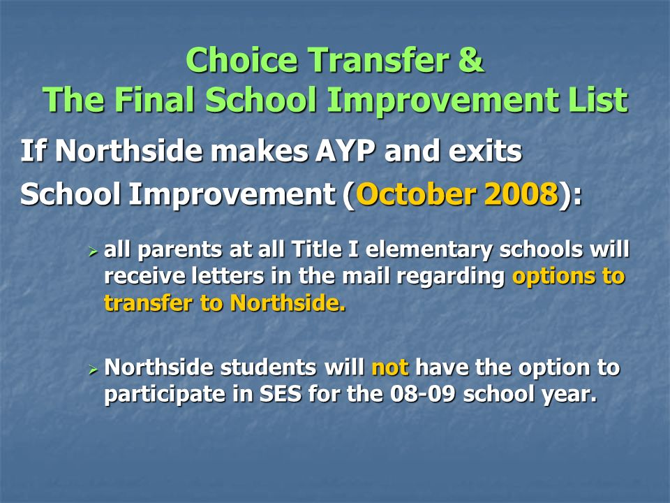 Choice Transfer Schools that must offer Choice 08-09 Based on the Preliminary School Improvement List : Bells Elementary School Black Street Elementary School Cottageville Elementary School Forest Hills Elementary School Hendersonville Elementary School ***Northside Elementary School*** Colleton Middle Forest Circle Middle Ruffin Middle